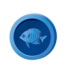 Blue coin with image a fish vector