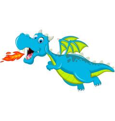 Blue dragon cartoon flying vector
