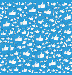 Blue hand likes signs background social network vector