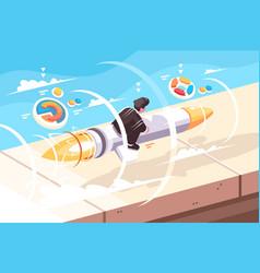 businessman flying on rocket vector image