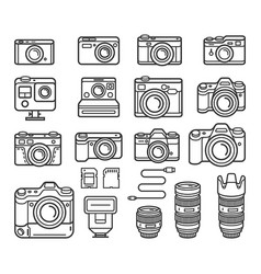 camera line icons set vector image