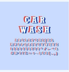 Car wash vintage 3d alphabet set vector
