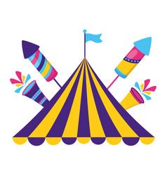 carnival tent flag rockets vector image