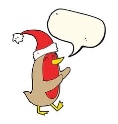 Cartoon christmas robin with speech bubble vector