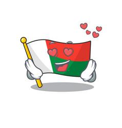 cartoon on mascot flag madagascar in love vector image
