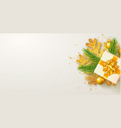 christmas background with gifts boxspruce vector image