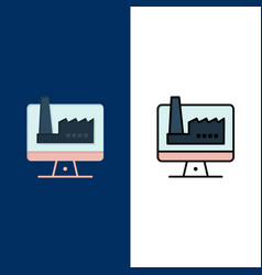 Computer building monitor factory icons flat and vector
