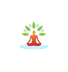 creative body yoga position meditation logo vector image