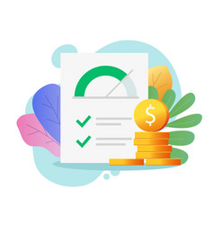 credit score rank report paper document with money vector image