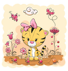 Cute cartoon tiger on a meadow vector