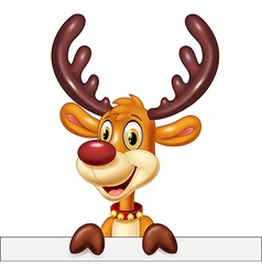 Cute deer holding blank sign Isolated vector image
