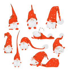 cute funny christmas characters - white bearded vector image