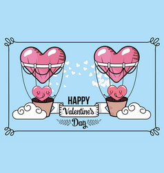 cute hearts character inside air balloon vector image