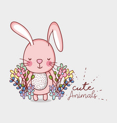 Cute pink bunny doodle cartoon vector