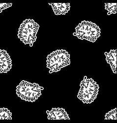 Cute punk rock hedgehog monochrome lineart on vector
