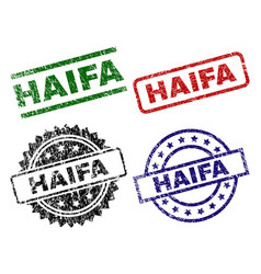 Damaged textured haifa stamp seals vector