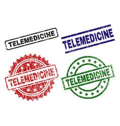 Damaged textured telemedicine stamp seals vector