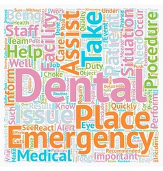 Dental Assistant Emergency Care 1 text background vector image