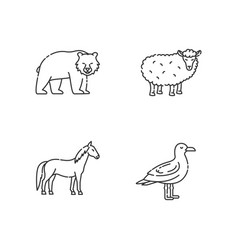domestic and wild animals pixel perfect linear vector image