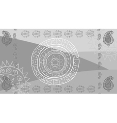 Drawing abstraction in oriental style sun ornament vector image