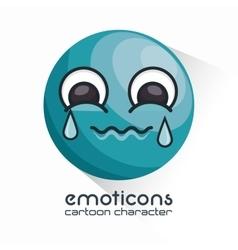 Emoticon crying face icon vector