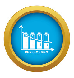 Energy battery consumption icon blue vector