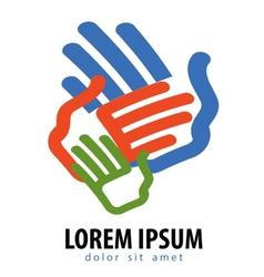 Family logo design template color hands vector