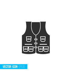 fishing vest icon in silhouette flat style vector image