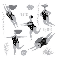 five funny cute fat women in swimsuits vector image