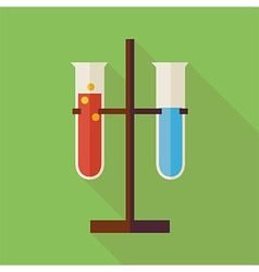 Flat Education and Science Chemistry Two Flasks vector image