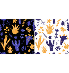 floral seamless patterns set with colorful cactus vector image