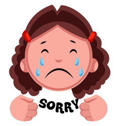 girl crying on white background vector image