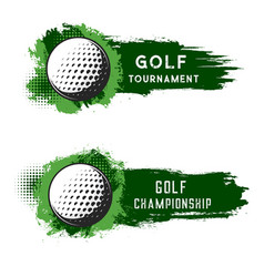golf ball with green grunge strokes isolated vector image