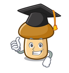 Graduation porcini mushroom character cartoon vector