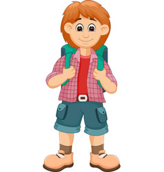 handsome backpacker cartoon posing with smile vector image