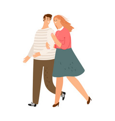 happy couple walking vector image