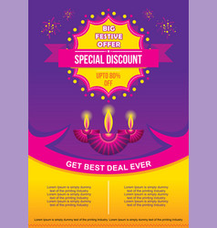happy diwali festival sale discount banner design vector image