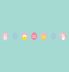 happy easter text chicken bird with shell bunny vector image