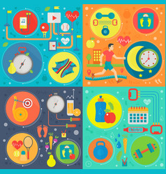 healthy lifestyle flat color templates set vector image