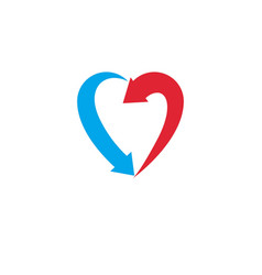 heart symbol created with two arrows conceptual vector image vector image