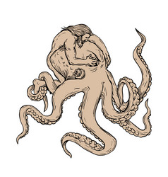 hercules fighting giant octopus drawing vector image