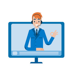 hotline support online male assistant vector image