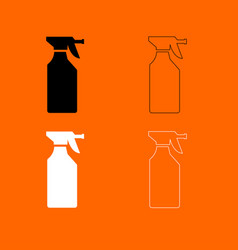 Household chemicals black and white set icon vector