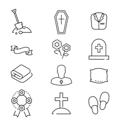 Icons set for funeral agency Line symbols vector image