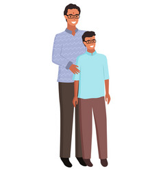 Indian man and kid father and son in glasses vector