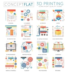 Infographics mini concept 3d printing technology vector image