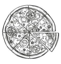 italian pizza pizza design template hand drawn vector image