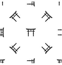 japanese torii pattern seamless black vector image