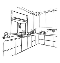 kitchen interior sketch home furniture vector image