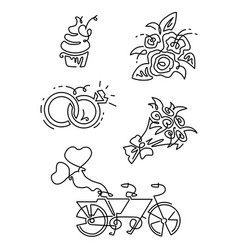 line icons set includes such icons as vector image